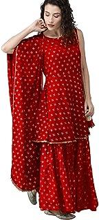 ANNI DESIGNER Women's Rayon Gold-Toned Printed Kurta with Sharara & Dupatta (Set of 3)(RED)