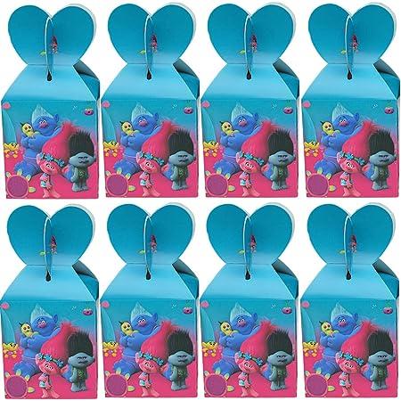 Cajas De Fiesta Bolsas de cumpleaños, 18Pcs Trolls Regalo Cajas, Cajas de Caramelo Tema Reutilizable Bolsas de Fiesta Bolsas para cumpleaños niños la Fiesta favorece la Bolsa Bolsas Fiesta