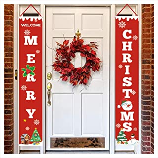 Merry Christmas Door Banner Waterproof Merry Bright Porch Sign New Year Xmas Christmas Door Hanging Banner Red Xmas Decorative Banners Home Wall Indoor Outdoor Decor Ornaments DIY Christmas Decoration