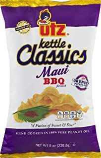Utz Kettle Classics Maui BBQ Crunchy Potato Chips 8 oz. Bag (3 Bags)
