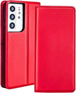 RedyRun Samsung Galaxy S21 Ultra Case Genuine Leather Flip Cover [Stand Feature] with Magnetic Closure and [3-Slots] ID/Cr...