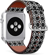 [ Compatible with Big Apple Watch 42mm / 44 mm ] Replacement Leather Band Bracelet Strap Wristband Accessory and Adapters // White Skulls Bones
