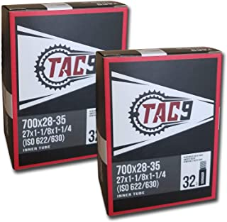 TAC 9 Tube, 700c x 28-35 (27 x 1-1/8-1-1/4) Regular Schrader Valve, 32mm (ISO/ETRTO 622/630) - One Pack or Two Pack Bundle Options