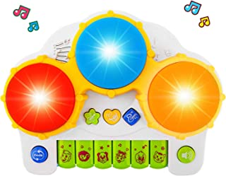 Zooawa Baby Piano Music Keyboard Hand Drum, Musical Instrument Educational Learning Toy with Flashing LED Lights for Toddlers & Kids - Colorful
