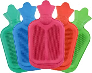 WTSHOP 2 Pack Premium Simple Rubber 1L Small Hot Water Bag(Random Colors),Great for Pain Relief,Hot and Cold Therapy,Natur...