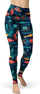 sissycos Women's Under The Sea Printed Leggings High Waist Brushed Buttery Soft Pants