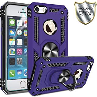 iPhone 5s Phone Case,iPhone 5 / iphnoe se Case with HD Screen Protector,Gritup 360 Degree Rotating Metal Ring Holder Kickstand Armor Anti-Scratch Bracket Cover Case for Apple iPhone 5s/5/se Purple