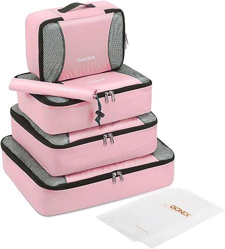 Gonex Packing Cubes Set,Lightweight Travel Organizers Bags 3pcs/5pcs/9pcs Packing Cubes Set + 4 Reusable Zip Bags, Pi...
