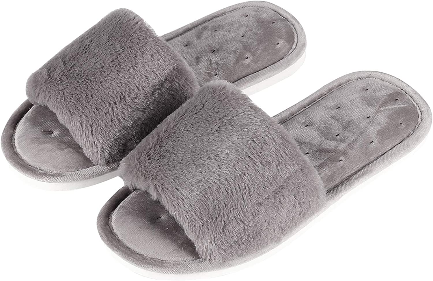Shevalues Women's Peep Toe House Slippers Terry Cloth SPA Slippers Casual Memory Foam Indoor Slippers