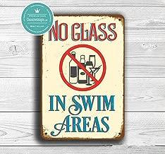TOPFINES No Glass Swim Areas Sign, Pool Signs, Pool Decor, No Glass Sign, No Glass in The Pool Sign, Swim Area Signs, Please No Glass, No Glass Sign (11.8