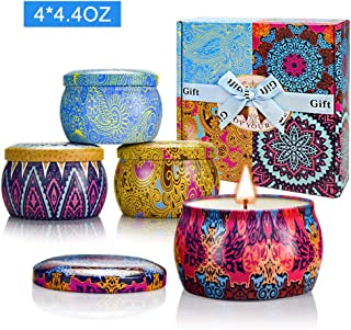 Yinuo Candle Women Scented Candles Set, 100% Soy Wax Portable Tin Candles, Stress Relief and Aromatherapy for Bath Yoga Thanksgiving Gifts Set for Mother's Day Birthday