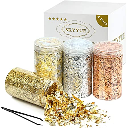 (60Grams)Gilding Gold Flakes Set with Tweezers,Color 2.5 Imitation Gold Flakes,Silver Flakes,Copper Foil Flakes for Gilding, Painting Arts and Crafts.