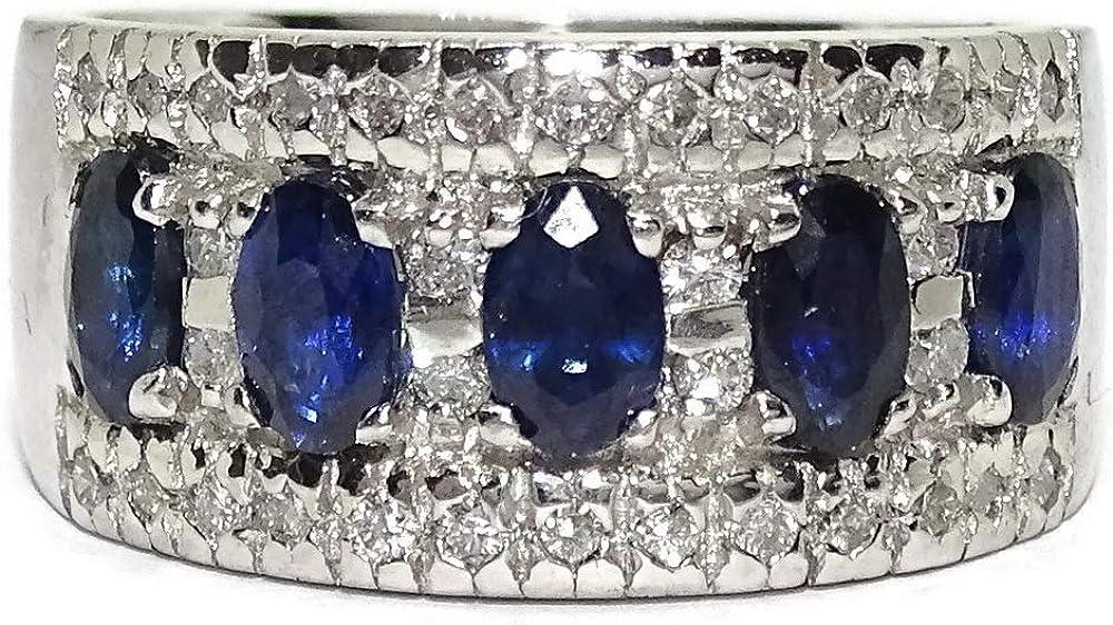 Never say never anello in oro bianco 18 kt con 5 zaffiri ovali da 1,45 kt e diamanti 3570035552