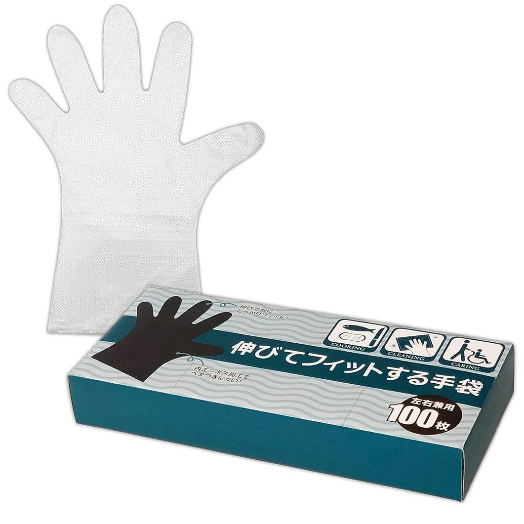 忘れられない理論切断する伸びてフィットする手袋 100枚入 使い捨て 作業用 キッチン 掃除 料理 介護
