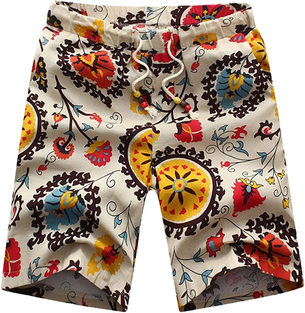 Denver Mall Max 47% OFF Youhan Men's Summer Print Linen Fitted Short