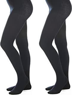 Women's Warm Winter Cotton Sweater Flat Knit Footed Opaque Tights
