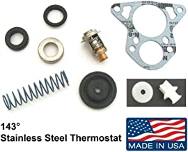 Thermostat Kit for Johnson Evinrude 150, 175, 185, 200, 235 Hp V6 Crossflow 143° (Stainless Steel Thermostat) Replaces 18-3674, 13280 Read Product Description Below for Exact Applications