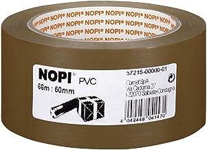 Verpakkingstape 50mmx66m bruin NOPI 57215-0000-01 PVC reliëf - 6-pack