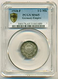 1918 DE Germany Empire Silver 1/2 Mark MS65 PCGS Secure