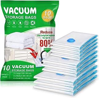 Vacwel 10 Pièces Sacs de Rangement sous Vide 3L (100 x 80 cm) + 3M (80 x 60 cm) + 4S (60 x 40 cm) Réutilisable pour Vêteme...