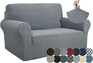 ZNSAYOTX 1 Piece Jacquard Couch Covers for 2 Cushion Couch High Stretch Loveseat Slipcover for Pets Dogs Anti Slip Love Seat Sofa Slipcover Furniture Protector (Loveseat, Light Grey)