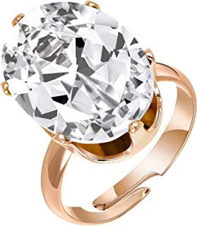Jertom 14k Gold Plated Copper 6 Carat Oval Cubic Zirconia Ring Fake Diamond Adjustable Plus Size Ring for Women