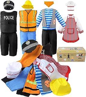 مجموعة أزياء تنكرية للأولاد من جيووكاو، مجموعة لعب الأدوار 11 قطعة تلبيس قرصان جذع، طاهي، عامل بناء، زي شرطي مناسب للأطفال...