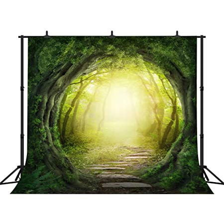 CSFOTO 7x5ft Background for Magic Forest Misty Woods Enchanted Brook Photography Backdrop Fantasy Mysterious Grassland Nature Fairy Tale Children Kid Portrait Photo Studio Props Polyester Wallpaper