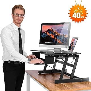 Estación de trabajo para ordenador de escritorio Ergoneer, altura ajustable, elevador de escritorio de pie y bajar a varias posiciones para comodidad ergonómica (negro)