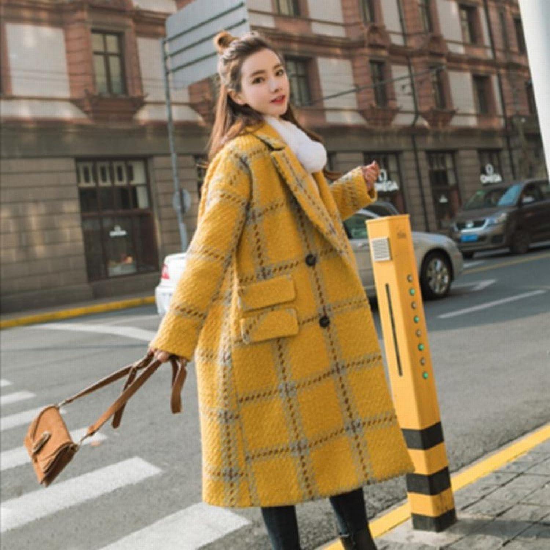 DEED Women's CoatAutumn and Winter College Wind Double Breasted Lattice Coat Jacket Female Midties Woolen Coat