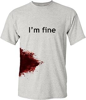 Feelin Good Tees I'm Fine Graphic Zombie Slash Movie Halloween Injury Novelty Cool Funny T Shirt