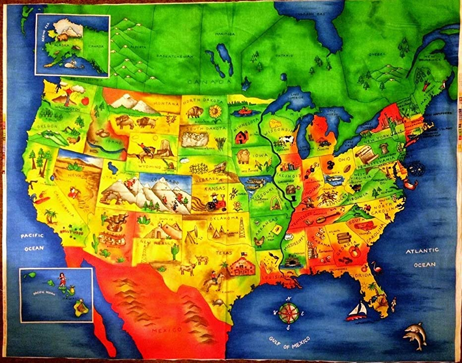 Colorful Map of The United States Showing Each State Capital Cotton Fabric