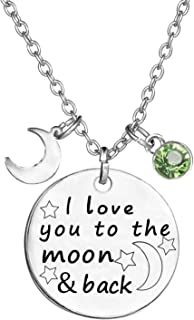 TISDA Birthstone Crystals Necklace,I Love You To The Moon And Back Jewelry Necklace