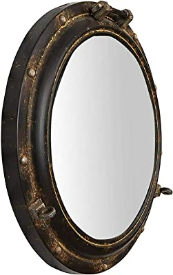 "Kasmi Metal Port Hole Reflective Framed Mirror, 22"" L x 22"" W x 3"" H, Rust"