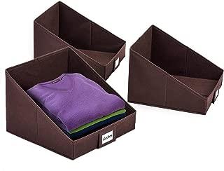 Umi. by Amazon - Cajas organizadoras de tela con ventanilla para portaetiqueta, organizadores plegables para armario, 3 pcs, marrón, diseño inclinado