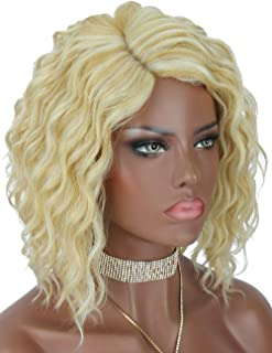 Kalyss Blonde Highlights Short Curly Wigs for Women Hand-Tied Lace Curved Side Parted Bob Premium Synthetic Lace Wigs