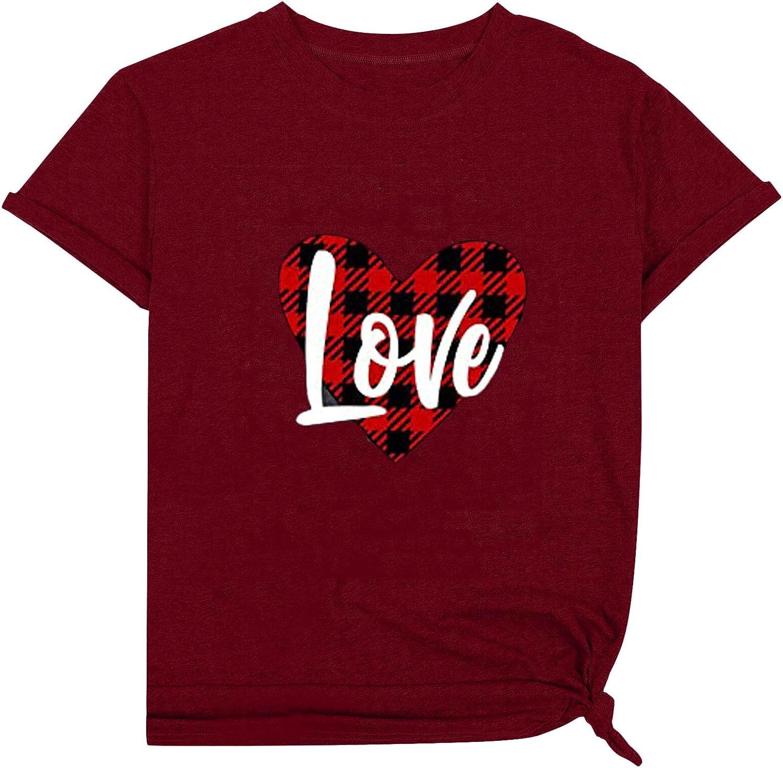 Women Valentine's Day T-Shirt Cute Leopard Buffalo Plaid Leopard Heart Graphic Short Sleeve Tees Tops Fashion Summer Top