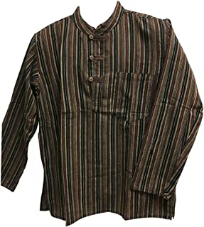 Bohemian Yoga Hippie Cotton Mandarin Collar Long Sleeve Shirt Kurta Tunic Suresh