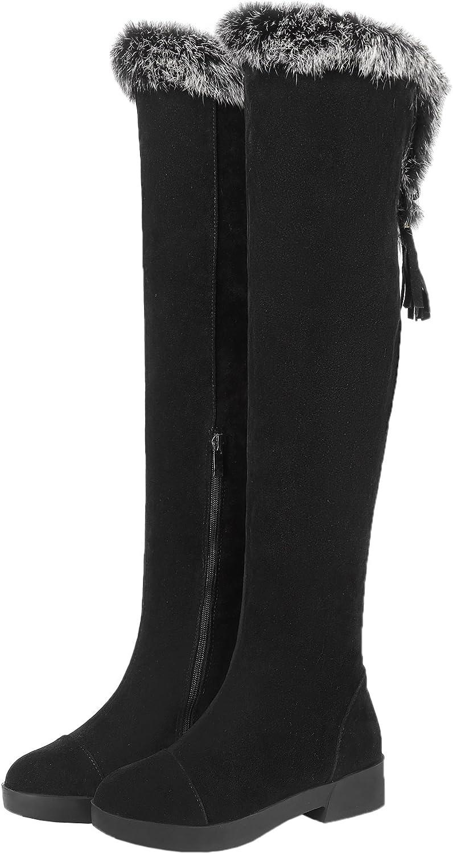 HooH Women Over the Knee Boots Suede Winter Warm Rabbit Fur Tassel Pendant Knee High Boots