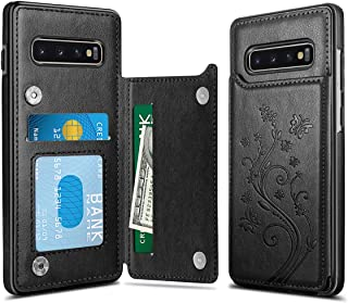 HianDier Wallet Case for Galaxy S10 Credit Card Slot Holder Flower Pattern Slim Protective Case Flip Folio Soft PU Leather Magnetic Closure Cover Case for Samsung Galaxy S10 6.1 Inches, Black