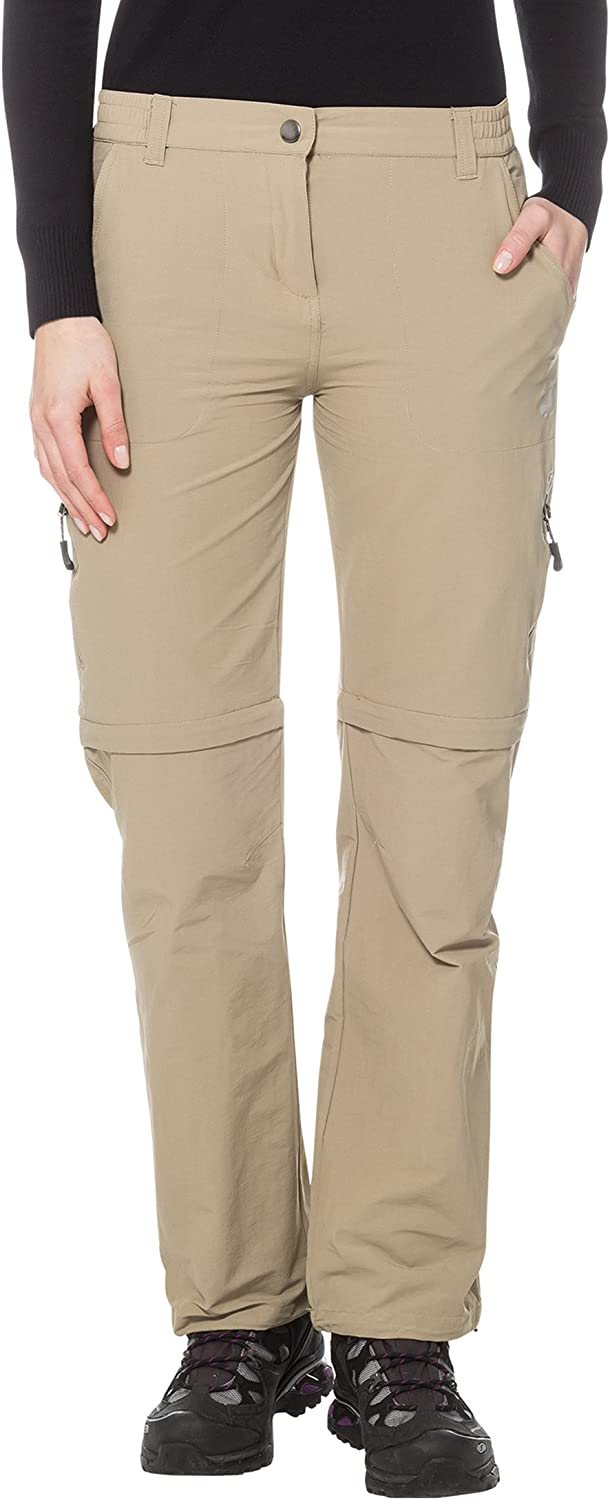 Ultega Women's 2in1 Trekking on Trail Trousers with QuickDryFunction and UV Predection, Beige, Medium