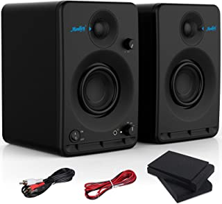 Studio Monitors Speakers (Pair) - Moukey 3'' CSR Bluetooth Speakers Active Powered Near Field Recording Monitors with 2-Pa...