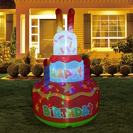 GOOSH 6.8 FT Height Birthday Inflatables Outdoor Happy Birthday Cake with Candles, Blow Up Yard Decoration Clearance with LED Lights Built-in for Holiday/Christmas/Party/Yard/Garden