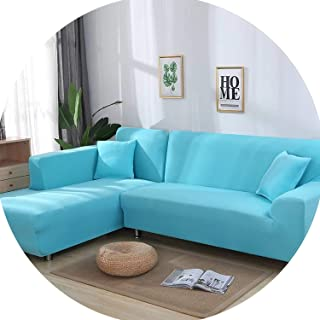 Gooding life 2 Pieces Covers for L Shaped Sofa Corner Sofa Living Room Sectional Slipcovers Chaise Longue Covers Universal Stretch Elastic,Light Blue,235-300cm 235-300cm