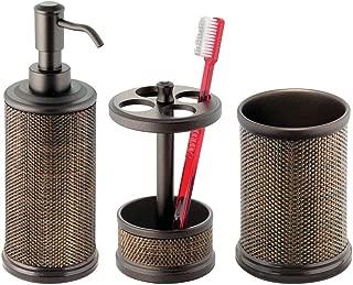 mDesign Bath Accessory Set, Soap Dispenser Pump, Toothbrush Holder, Tumbler - 3 Pieces, Bronze