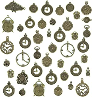 Buytra 100g Antique Bronze Steampunk Gears Cogs Clock Watch Face Charms Pendants for DIY Jewelry Making Supplies, Steampunk Accessories, Craft Projects (Style May Vary)