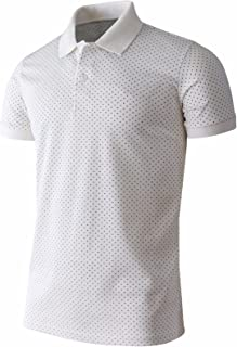 BCPOLO Men's Polo Shirt Casual Short Sleeves Polka Dots Pattern Golf Polo Shirt
