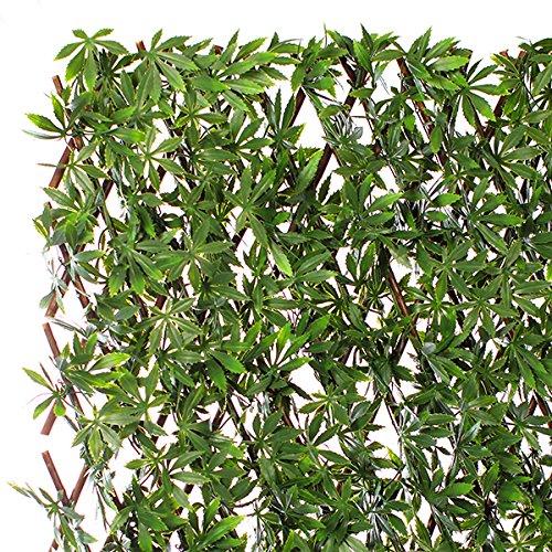 Jardin Artificiel - Treillis Extensible en Bois de Saule Feuillage Artificiel Chanvre