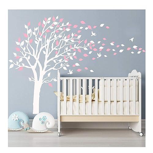 BDECOLL Nursery Wall StickersCherry Blossom Tree DecalsFlying Birds Art For