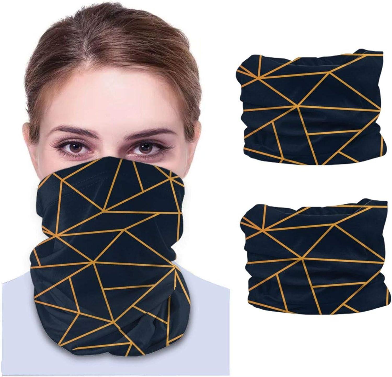 Papel pintado de mosaico moderno dorado y azul marino unisex polaina de cuello tela lavable pasamontañas reutilizables protección UV cubierta facial para viajar y caminar 2 piezas